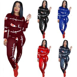 hoodies t shirt outfits NZ - Women Champions Letter Tracksuit Long Sleeve T Shirt Tops + Pants Leggings 2 Piece Set Casual Hoodie Outfits CHAMPI Sportswear Sweater Suit