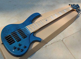 5 Strings Blue Electric Bass with Dendritic Veneer,Maple Fingerboard,Active Circuit,Can be Customized As Request on Sale