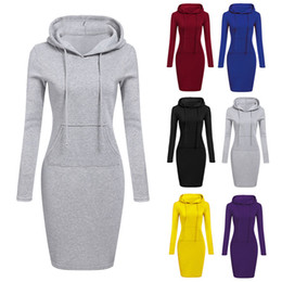 Wholesale Autumn Winter Warm Sweatshirt Long sleeved Dress Woman Clothing Hooded Collar Pocket Design Simple Woman Dress