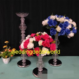 Acrylic tAble displAys online shopping - Display Flower Stand Candle Holder Road Lead Table Centerpieces Metal clear acrylic Stand Pillar Candlestick Fo Wedding Candelabra decor458