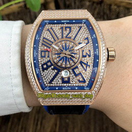 mens gold watches diamonds 2019 - NEW SARATOGE YACHTING V45 SC DT YACHTING 5N Diamonds Dial Automatic Mens Watch Rose Gold Diamonds Case Blue Leather Stra