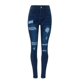wholesale ripped jeans for women Australia - High Waist Jeans Denim Ripped Jeans For Women Plus Size Pencil Pants Autumn High Stretch Cotton Skinny Slim Trousers E21