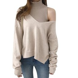 Wholesale fashion oblique sweaters online – oversize Fashion knitting Sweater Fake Two Piece Turtleneck Knit Long Sleeve Loose Jumper Hollow Sexy Oblique Shoulder Pullover Jumpers