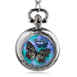 Chinese  Pattern Pocket Watch Butterfly Flower Pattern Wholesale Good Quality Hot Necklace Chain Watch W Battery Silver Tone 84.5cm manufacturers