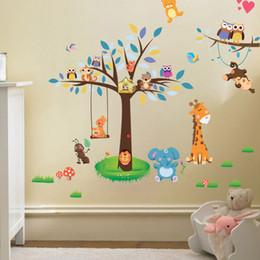 Owl nursery decOr online shopping - Jungle Forest Tree Animal Owl Monkey Bear Deer Wall Stickers Kids Baby Nursery Rooms Bedroom Wall Decal Wallpaper Home Decor