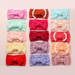 Kids cute ribbon hair band online shopping - Baby Lace Headbands Soft Knot Hair Bow Hairband Kids Jacquard Hair Accessories Cute head band Boutique Bowknot Headband GGA2202
