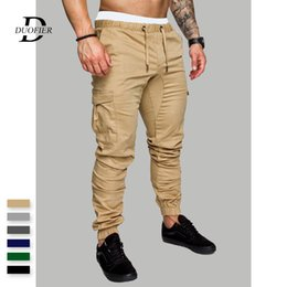 blue cargo trousers Australia - Men Casual Cargo Pants Autumn New Male Jogger Trousers Solid Fitness Multi-pocket Men's Sportswear Military Tactical Sweatpants CX200615