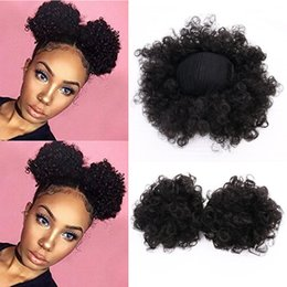 kinky curly clip hair 2019 - High Puff Africa Curly Wig Ponytail Drawstring Short Afro Kinky Tail Clip in on Synthetic Curly Hair Bun ornament cheap