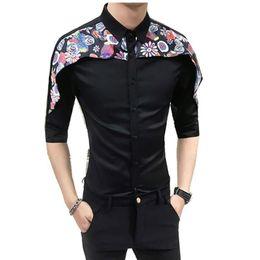 $enCountryForm.capitalKeyWord UK - High Quality Tuxedo Shirt Men 2018 Summer Digital Print Patchwork Men's Social Shirts Dress Slim Fit Night Club Party Shirts Man