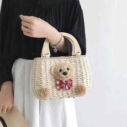 $enCountryForm.capitalKeyWord Australia - Women Sweet Straw Handbags Girls Casual Cute Cartoon Tote Bags Beach Totes Purse with Flower DK98