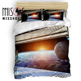 $enCountryForm.capitalKeyWord Australia - MISSHOUSE Space Station Universe Aerospace Technology Duvet Cover Set Bed Sheets Comforter Cover Pillowcases 4pcs Bedding Sets