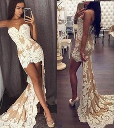 Strapless Champagne Lace Sheath Dress Australia - Champagne Sheath Lace Prom Evening Dresses Hi-lo Strapless Formal Party Gown Plus Size Pageant Dresses Custom Made BC0950