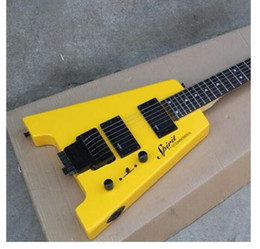 $enCountryForm.capitalKeyWord Australia - Top quality FDHL-005 Yellow color solid body tiger cover rosewood fretboard headless electric guitar , Free shipping