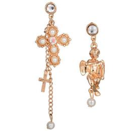 $enCountryForm.capitalKeyWord NZ - Asymmetric Pearl Cross Angel Golden Women Dangled Earring Exclusive Great Nice Allergy Free Ear Nail Accessories Lady Ear Stud Earrings