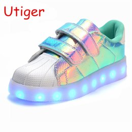 led sneakers Canada - Glowing Led Kids Sneakers Boy Girl Shoes With Light Fashion Luminous Lighted Colorful Led Lights Children Shoes Casual Flat Y19061906