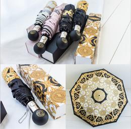 Parapluies de marque impression Parasol Medusa Logo Parasol Femmes Coupe-Vent En Plein Air Preuve Ultraviolette Pluie Plier 4 couleurs MMA1696 en Solde