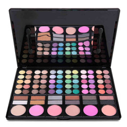 matte long lasting lipgloss 2020 - DHL 60pcs lot 78 Color Eyeshadow Palette With Blusher Contour Powder Lipgloss Fashion Eye Shadow Pallete Makeup Set 3 Mo