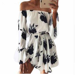 790693d36c Aliexpress Ebay Europe Trade Explosion Source Word Shoulder Sexy Backless  Vestidos Print Beach Dress Q190523