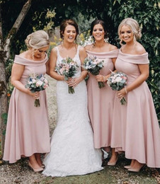 High Low Coral Junior Bridesmaid Dresses Australia - 2019 Pink Bridesmaid Dresses Elegant Off Shoulders High Low Maid of Honor Gowns Cheap Beach Garden Plus Size Bridesmaid Dress 04