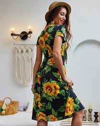 $enCountryForm.capitalKeyWord Australia - Summer Boho Floral Wrap Dresses Chiffon Women Elegant Bow Tie Wrap Hidden Zipper High Waist Midi A Line Dress Dark Blue White