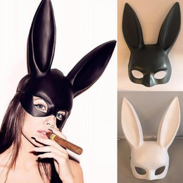 Black Bunny mask online shopping - Halloween Laides Bunny Mask Party Bar Nightclub Costume Rabbit Ears Mask Masquerade Party Cosplay Costume Props Colors