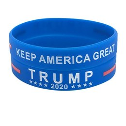 birthday wristbands UK - Trump Silicone Wristband Rubber Bracelets Bangles Make America Great Donald Trump 2020 Jewelry Party Favor