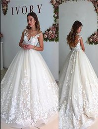 Hot Sexy White Dresses Australia - Hot Selling A Line Lace Wedding Dresses O Neck Sweep Train Tulle Appliques White Sexy Wedding Bridal Gowns With Sheer Low Back
