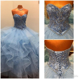 158d12fa205 Sweet 16 Light Sky Blue Quinceanera Dresses Crystal Beaded Bodice Flounced  Tulle Ballgown Prom Gowns Ruffle Skirt vestidos de 15 anos