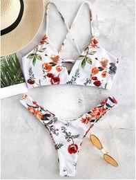 Venta al por mayor de 2019 Hot Women Sexy Bikini Set Trajes de dos piezas con flores para arriba Traje de baño femenino acolchado Push Up Traje de baño brasileño Monokini