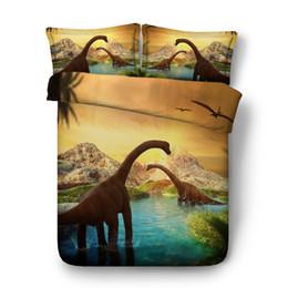 Ocean Bedding Australia - Dinosaur Bedspread Kids Bed Cover 3 Pieces Teen Boys Bedding Duvet Cover With 2 Pillow Shams Orange Animal Coverlet Ocean bed cover Sunset