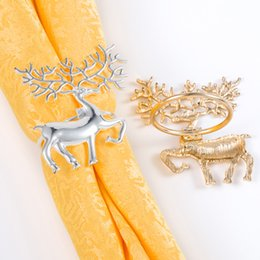 kitchen ring holder Canada - Christmas Deer Napkin Rings Elk Tableware Napkin Holders for Home Kitchen Table Decorations Christmas Dinners Accessories