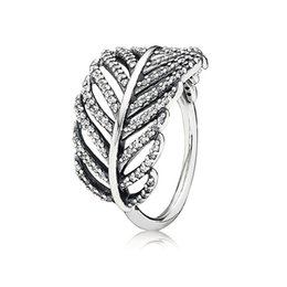 $enCountryForm.capitalKeyWord UK - Real 925 Sterling Silver Feather Rings CZ Diamond fit Pandora style Jewelry for Women 18K Rose Gold Crystal Wedding Ring with original bag