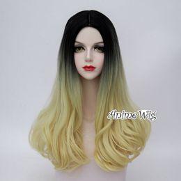 lolita wigs blonde 2019 - 50CM Dip Dye Lolita Black Yellow Blonde Wavy Long Heat Resistant Cosplay Wig >>>>>Free shipping New High