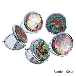 Vintage Cosmetic Mirrors Mini  Compact Pocket Mirror Flower Butterfly Metal Portable Double-Side Folding  Mirror