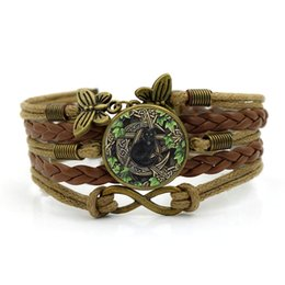 Chinese  Wicca Black Cat Photo Charm Bracelets for Women Fashion Glass Cabochon Butterfly Infinity Jewelry Multilayer Leather Bracelet manufacturers