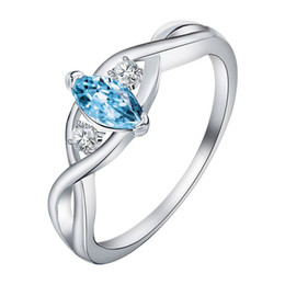 blue stone set silver UK - New Big Blue Oval Stone Silver Ring for Women Engagement wedding Bridal Fashion ring us size 6-10#