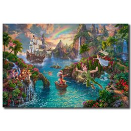Wholesale Peter Pan Never Land By Thomas Kinkade Canvas Painting Print Living Room Home Decor Modern Wall Art Oil Painting Poster Accessories HD