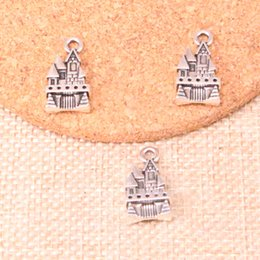 House Plates Australia - 52pcs Antique Silver Plated castle house Charms Pendants fit Making Bracelet Necklace Jewelry Findings Jewelry Diy Craft 21*11mm