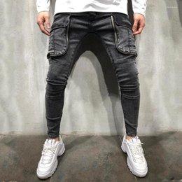Wholesale european style clothing big men for sale – denim Designer Jeans Fashion Big Pockets Panelled Zipper Fly Mens Designer Jeans Casual Males Clothing Hole Panelled Mens