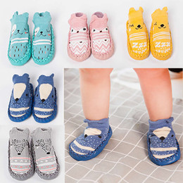 cotton knit patterns NZ - Baby Toddler Non-Slip knitting socks Moccasins Slippers Baby Socks Infant Cotton Cartoon Animal Pattern