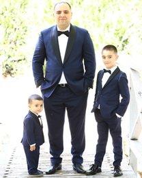 2019 Custom Made Azul Marinho Do Casamento Do Smoking Xaile Lapela Partido Prom Ternos Groomman Smoking Parentage Outfit (Jacket + Pants + Tie)