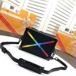 Wholesale ladies hot paintings resale online - Hot Sale Designer Lady Shoulder Bag Fashion Leather Painted Rainbow Crossbody Bag Luxury Messenger Bag