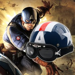 Half Face Summer Helmet Australia - New Captain America cartoon electric bicycle motorcycle helmet winter ABS summer half face helmet Four Seasons FREE SIZE