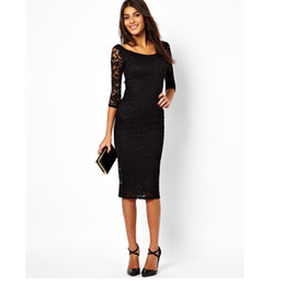 Fashion Trends Lace Dress Australia - Spring trend temperament fashion new women's dress round neck seven-point sleeves slim slimming lace stitching skirt