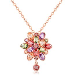 Rose Long Chain Pendant Australia - Hot Sale Fashion Rose Gold Plated Necklace & Pendants Colorful Flower Zircon Crystal Women Chain Long Pendant Necklace Jewelry