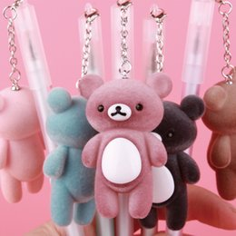 Stationery Australia - Cute Kawaii Rilakkuma Gel Pen Bear Pendant Neutral Pen for Writing Black Ink 0.5mm Novelty Gifts Stationery Office School Supply