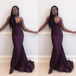 TrumpeT pipe online shopping - African Long Mermaid Prom Dresses Spaghetti Straps Backless Grape Custom Made Evening Gowns Elastic Satin Plus Size Party Dress