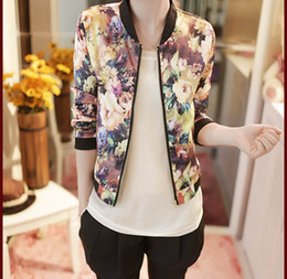 women floral baseball jacket Canada - Spring Autumn Coat Jacket Women Baseball Uniform Casual Top Stand Collar Long Sleeve Zipper Floral Printed Bomber Jacket Coats