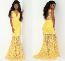Backless Lace Light Yellow Dress Australia - Inspired Designer Yellow Lace Evening Dresses Formal Gowns Mermaid Deep V neck Backless Open back Unique Style Party Prom Celebrity Dress