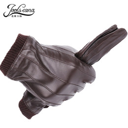 $enCountryForm.capitalKeyWord Australia - Joolscana Leather Gloves For Men Winter Fashion Gloves Made Of Italian Imported Sheepskin Can Play Touch Screen Elastic Wrist T190618